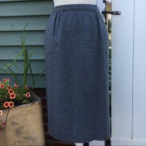 Vintage Pendleton 100% Wool Grey Midi Skirt